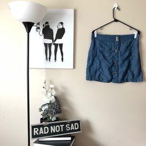 🌸HeartSoul Faux Denim button down jean skirt